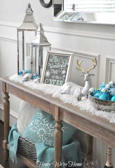 Honey We're Home: Snowy Aqua & Mint Mantel. #laylagrayce #holiday #decor