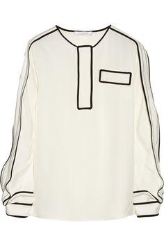 Chloé|Textured-satin blouse|NET-A-PORTER.COM