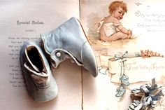 antique baby book and high button shoes ... ca. 1910