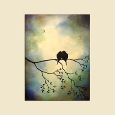 Birds in Tree Branch, Large Custom Painting, Wall Decor