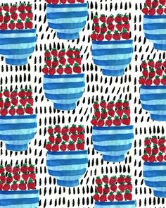 Strawberries in a bowl. #pattern #illustration #fruit