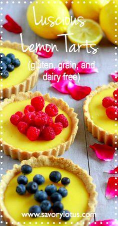 Luscious Lemon Tarts (gluten, grain, and dairy free) -  savorylotus.com #lemon #tarts #glutenfree #grainfree #dairyfree #dessrt #resipes #paleo