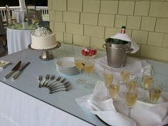 Champagne and cake for an elopement reception at Churchill Manor.