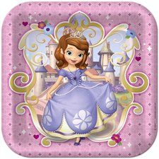 "Sofia the First 9"" Square Lunch/Dinner Plates. One package of 8 Sofia the First 9"" Square Lunch/Dinner Plates. Find at http://www.ezpartyzone.com/pd-sofia-the-first-9-square-lunch-dinner-plates.cfm"