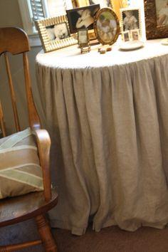 Holly Mathis - linen or burlap table skirt