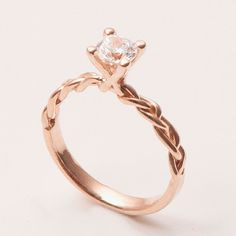 Braided Engagement Ring - 14K Rose Gold and Diamond engagement ring, 0.5ct diamond ring, engagement ring, celtic ring, antique, art nouveau on Etsy, $850.00