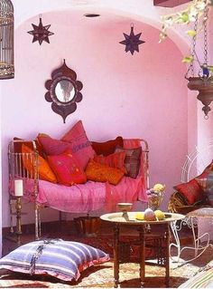pink and red colors for ethnic decorating with moroccan decor accessories