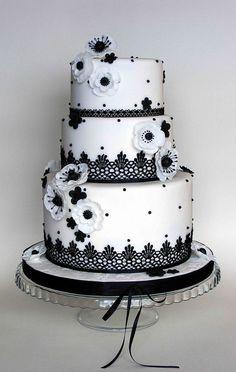 Black and white wedding cake..