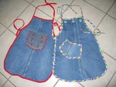more old jeans aprons