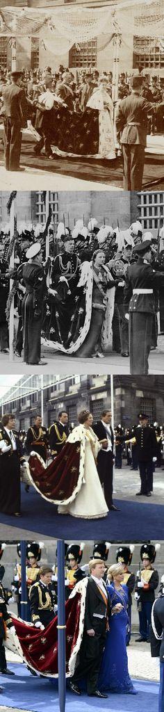 4 Generations of auguration: queens Wilhelmina, Juliana and Beatrix and King Willem Alexander.