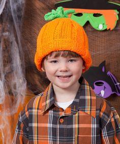 Halloween Knit Pumpkin Hat from Red Heart yarn