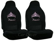 Pink Rhinestone Princess Crown car seat cover set. Very girly!