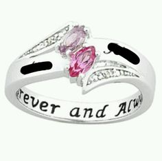promise ring with couples birthstones names and says