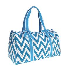 Aqua Blue Chevron Print Duffle Bag   HOT ITEM  by TheCraftista, $24.99