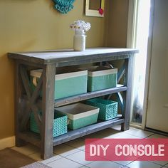 DIY Rustic Console Bench;  A variation on Ana White's Rustic X Console