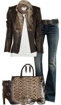 Pure leather jacket,handbag,loop scarf and denim jeans