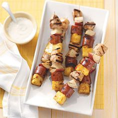 Sausage  Chicken Kabobs Recipe from Taste of Home -- shared by Diane Mateer of Florence, Kentucky