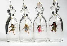 HoKiou's polymer clay miniature fairies in bell glass
