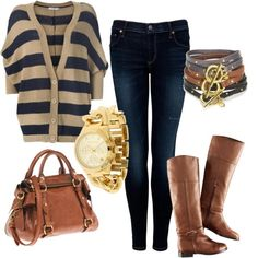 jean, sweater, fall fashions, bag, fall outfits, comfy casual, brown boots, fall fashion trends, stripe