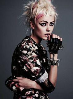Grunge. Punk. Fashion. Peroxide Blonde. Baby bangs. Pink hair. Pastel Pink. Floral. Spikes. Gloves. Black gloves. Leather gloves. Gray background. Grey.