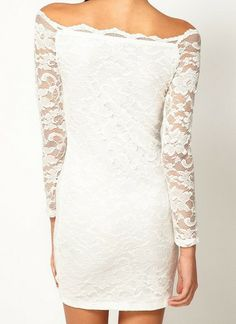 White Boat Neck Long Sleeve Embroidery Lace Dress