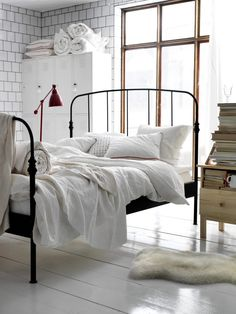 bed frames, cleanses, beds, lamp, white bedrooms, guest rooms, ikea, iron, painted floors