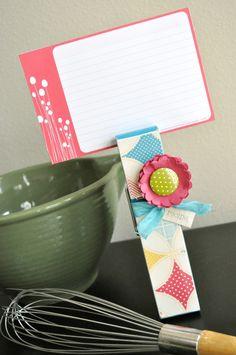 clothespin recipe card holder