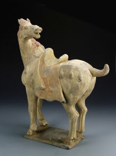 China, Tang painted pottery horse, with expressive head turned back, in an elaborate saddle, traces of red paint can be seen throughout the figure, with expressive, short tale, standing on base. Height 16 in.
