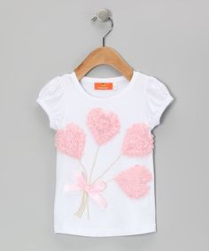 Take a look at this White & Pink Rosette Hearts Tee - Infant, Toddler & Girls by Dolce Liya on #zulily today!