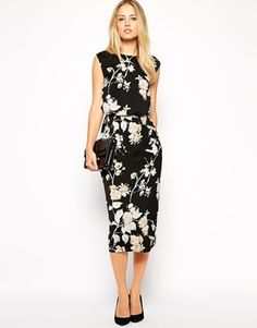 Enlarge ASOS Pencil Dress in Bird and Floral Print