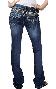 Miss Me Ladies Silver & Black Leather Wings w/ Crystals Flap Pocket Boot Cut Jean $99.00