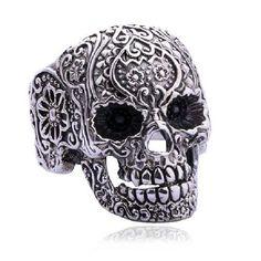 sterling silver sugar skull ring