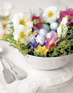 Easter time loveliness gathered from the garden. #Easter #centerpiece #spring