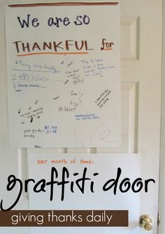 giving thanks daily with a super-simple thanksgiving graffiti door