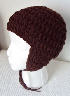 Crochet Earflap Hat  Coffee Colored  Unisex  by mamabecca73, $16.95