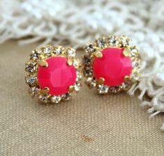 Neon Stud earring Neon Pink white Rhinestones  Summer - 14k plated gold post earrings real swarovski rhinestones.