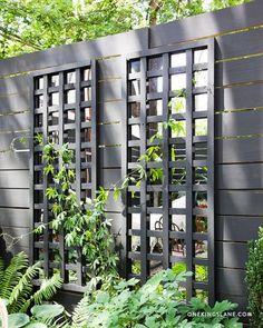 mirror garden, mirror trelli, garden trellis, privacy fences, diy mirror, backyard, fence design