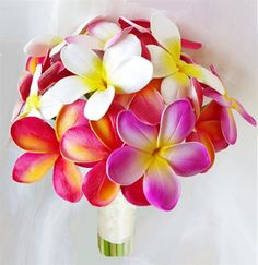 Fuchsia Natural Touch Orchids and Plumerias Bouquet