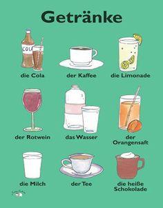 Getränke für Deutsch 2 listen voc. food.  http://www.deutschakademie.de/online-deutschkurs/audio-course/German-audio-course-3-2