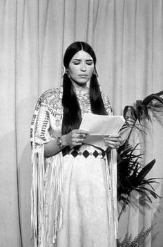 Sacheen Littlefeather  On March 27, 1973, a young woman took the stage at the Dorothy Chandler Pavilion in Los Angeles, California, to decline Marlon Brando's Best Actor Oscar. She said that Marlon Brando cannot accept this award because of the treatment of American Indians by the film industry and the recent happenings at Wounded Knee.