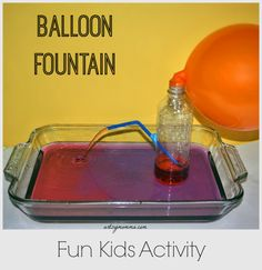 stem, balloon fountain, water bottles