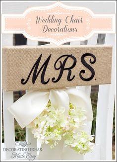 Wedding Chair Decorations - Beautiful Inexpensive Idea