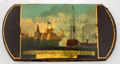 Paper Mache Cigar Case, Hand Painted Scene  Appearance of the American Fleet at Vera Cruz  Circa 1847 to 1860