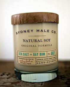 Sea Salt and Bay Rum Scented Candle by Sydney Hale Co.