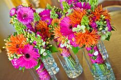 pink and orange wedding flowers.