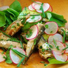Sardine, Avocado, Radish, Upland Cress Salad