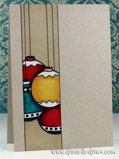 Danielle Daws: More Christmas Scene Baubles - ISSC26 stamp, christma scene, christmas baubles, christmas ornaments, simpl card, colored pencils, christmas scenes, bold colors