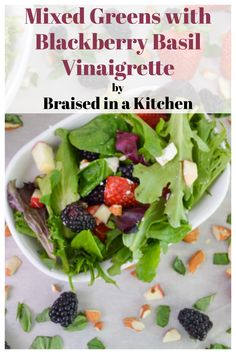 A delicious and light mixed green salad with berries, almonds, goat cheese, and a deliciously easy homemade blackberry basil vinaigrette. #salad #recipe #glutenfree #mixedgreens #blackberry #basil #vinaigrette #vegetarian #vegan