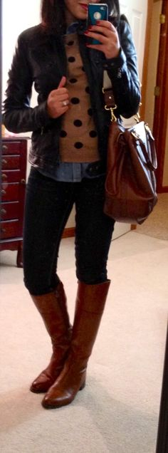 camel sweater chambray shirt skinny jeans brown riding boots black leather jacket