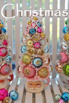pink santa bottle brush christmas tree